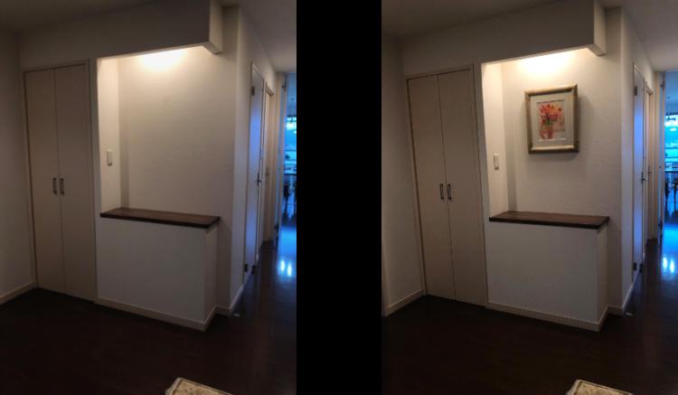 エラン・パルトゥシュの絵画を玄関に飾る