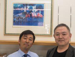松山元氣倶楽部にギヤマンの絵画を掛ける